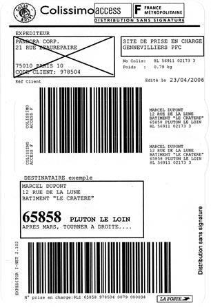 étiquette SoColissimo d'expédition